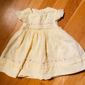Yellow Easter embroidered and smocked Dress 6-9 mo